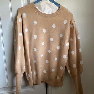 Tan and white polka dot sweater